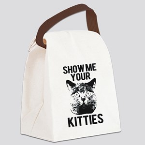 SHOW ME YOUR KITTIES FUNNY CAT HEAD TEE Canvas Lun