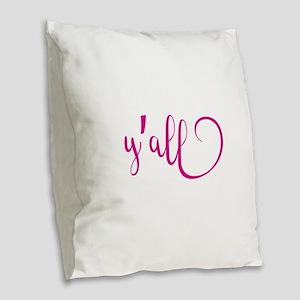 y'all Burlap Throw Pillow