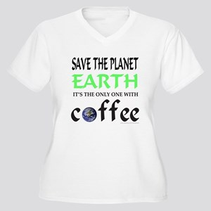 COFFEE LOVER Women's Plus Size V-Neck T-Shirt