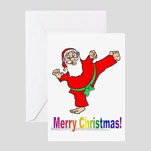 Santa Kicker Greeting Cards