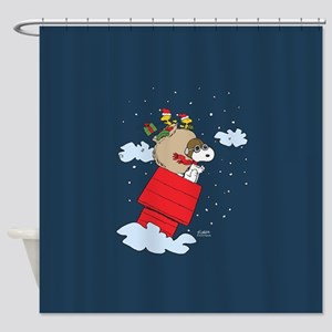 Flying Ace Santa Full Bleed Shower Curtain