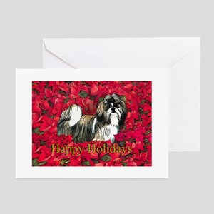 Shih Tzu Christmas Poinsettia Greeting Cards (Pack