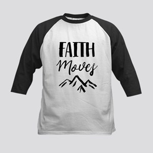 Faith Moves Mountains Black Baseball Jersey