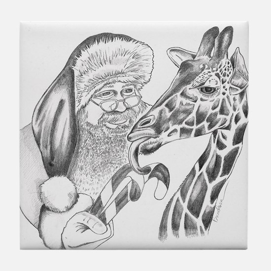 Christmas Giraffe and Santa Tile Coaster