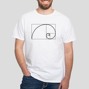 Fibonacci Spiral White T-Shirt