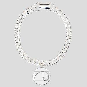 Fibonacci Spiral Charm Bracelet, One Charm