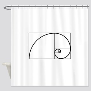 Fibonacci Spiral Shower Curtain