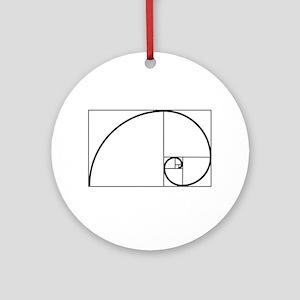 Fibonacci Spiral Round Ornament