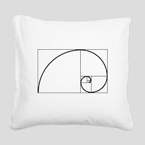 Fibonacci Spiral Square Canvas Pillow