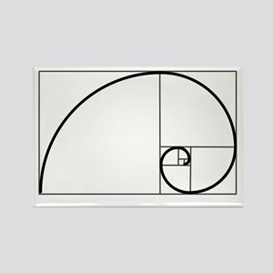 Fibonacci Spiral Rectangle Magnet
