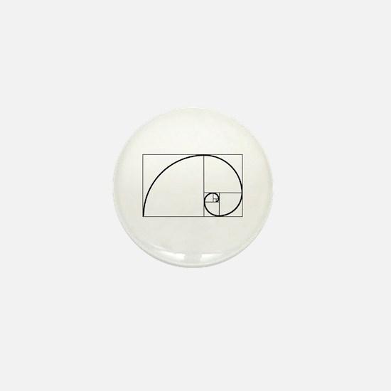 Fibonacci Spiral Mini Button