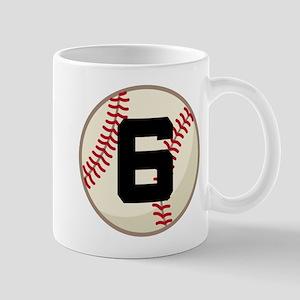 Baseball Player Number 6 Mugs