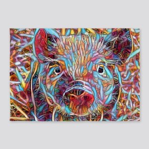 Funky Little piglet 5'x7'Area Rug