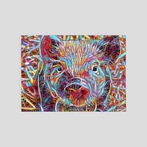 Funky Little piglet 5'x7'Area Rug