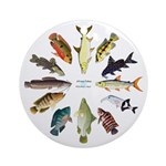 African Fishes Clock I Round Ornament