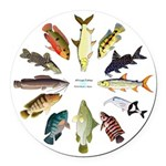 African Fishes Clock I Round Car Magnet