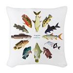 African Fishes Clock I Woven Throw Pillow