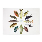 African Fishes Clock I 5'x7'Area Rug