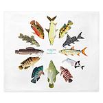 African Fishes Clock I King Duvet