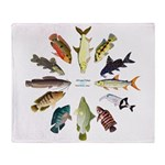 African Fishes Clock I Throw Blanket