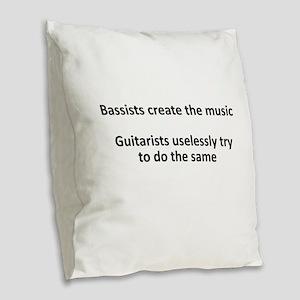 Bassists create the music Burlap Throw Pillow