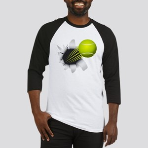 Tennis Ball Flying Out Of Hole Baseball Jersey