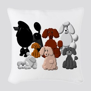 Poodle Pack Woven Throw Pillow