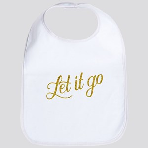 Let It Go Gold Faux Foil Glitter Metallic Baby Bib