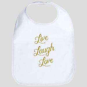 Live Laugh Love Gold Faux Foil Glittery M Baby Bib