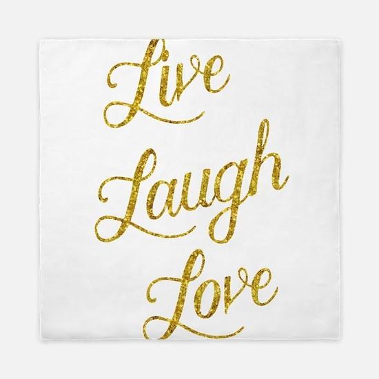 Live Laugh Love Gold Faux Foil Glitter Queen Duvet