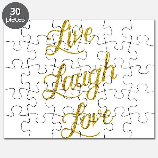 Live Laugh Love Gold Faux Foil Glittery Met Puzzle