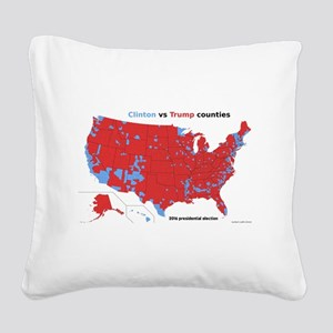Trump vs Clinton Map Square Canvas Pillow