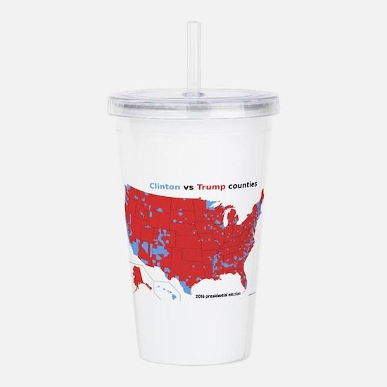 Trump vs Clinton Map Acrylic Double-wall Tumbler
