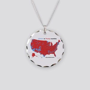 Trump vs Clinton Map Necklace Circle Charm