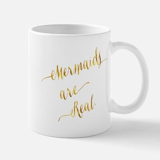 Mermaids are Real Gold Faux Foil Metallic Gli Mugs