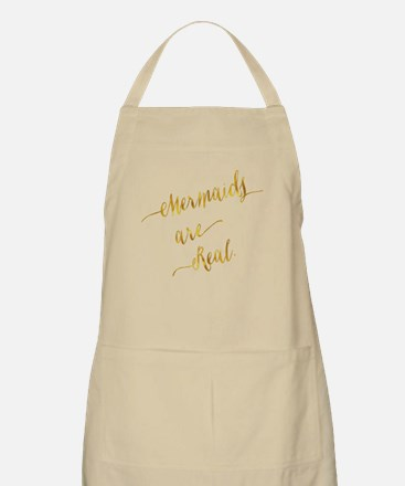 Mermaids are Real Gold Faux Foil Metallic Gl Apron