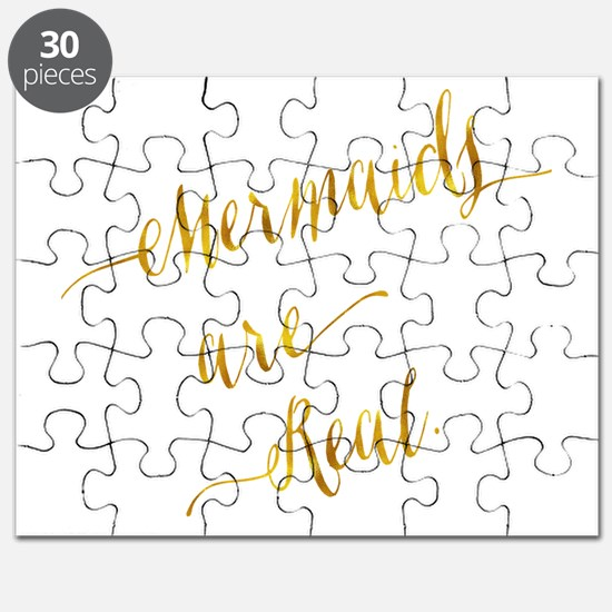 Mermaids are Real Gold Faux Foil Metallic G Puzzle