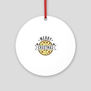 MerryCrustmasPizza2A Round Ornament