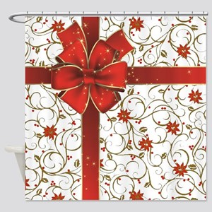 Poinsettias and bow Shower Curtain