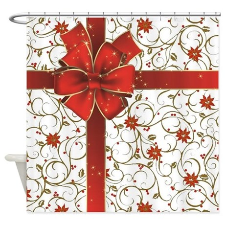 High Quality Poinsettias And Bow Shower Curtain
