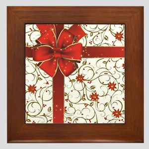 Poinsettias and bow Framed Tile