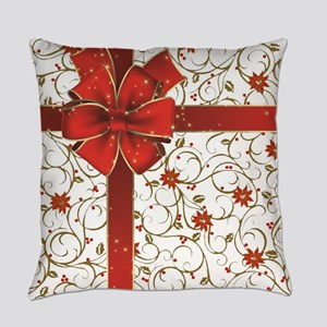 Poinsettias and bow Everyday Pillow