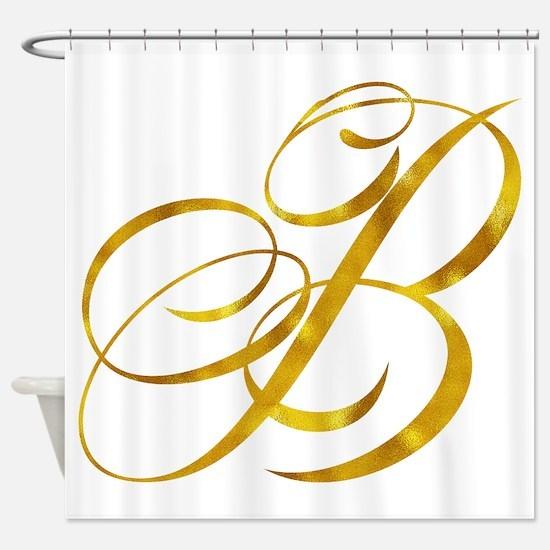 Monogram B Gold Faux Foil Monograms Shower Curtain