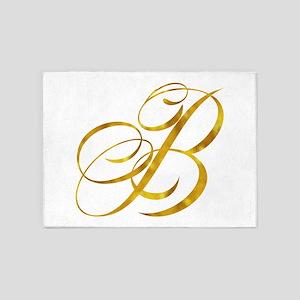 Monogram B Gold Faux Foil Monograms 5'x7'Area Rug
