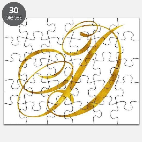 Monogram D Gold Faux Foil Monograms Metalli Puzzle