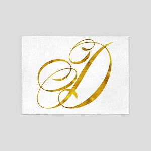 Monogram D Gold Faux Foil Monograms 5'x7'Area Rug