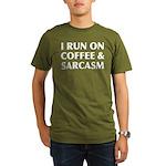 I Run On Coffee and S Organic Men's T-Shirt (dark)