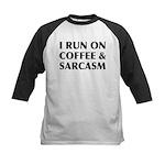 I Run On Coffee and Sarcasm Kids Baseball Jersey