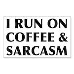 I Run On Coffee and Sarc Sticker (Rectangle 10 pk)