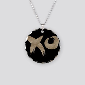 brushstroke black gold XOXO Necklace Circle Charm